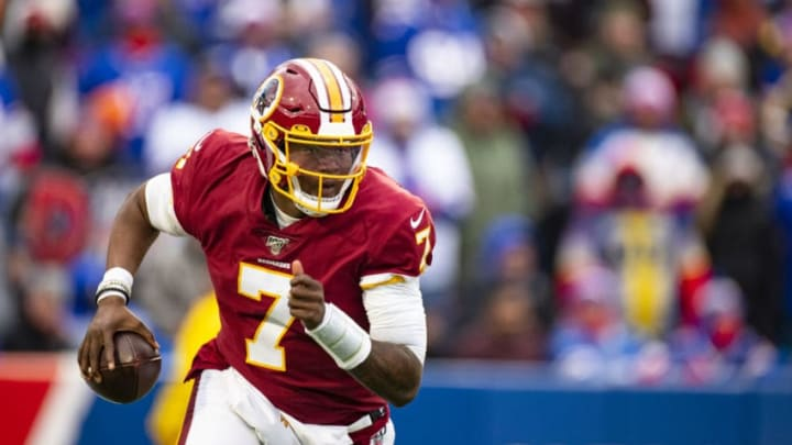 ORCHARD PARK, NY - NOVEMBER 03: Dwayne Haskins #7 of the Washington Redskins runs with the ball during the fourth quarter against the Buffalo Bills at New Era Field on November 3, 2019 in Orchard Park, New York. Buffalo defeats Washington 24-9. (Photo by Brett Carlsen/Getty Images)