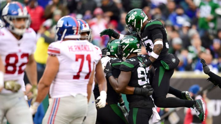 EAST RUTHERFORD, NEW JERSEY - NOVEMBER 10: Jamal Adams #33 of the New York Jets celebrates with teammates after a tackle in the second half of their game against the New York Giants at MetLife Stadium on November 10, 2019 in East Rutherford, New Jersey. (Photo by Emilee Chinn/Getty Images)