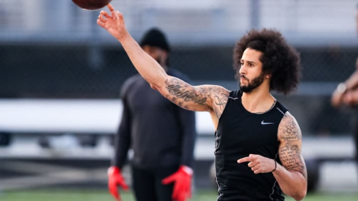 RIVERDALE, GA - NOVEMBER 16: Colin Kaepernick looks to pass during his NFL workout held at Charles R Drew high school on November 16, 2019 in Riverdale, Georgia. (Photo by Carmen Mandato/Getty Images)