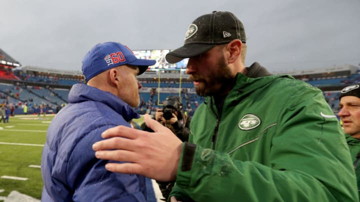 ORCHARD PARK, NEW YORK - DECEMBER 29: Head Coach Sean McDermott of the Buffalo Bills and head coach Adam Gase of the New York Jets embrace after an NFL game at New Era Field on December 29, 2019 in Orchard Park, New York. (Photo by Bryan M. Bennett/Getty Images)