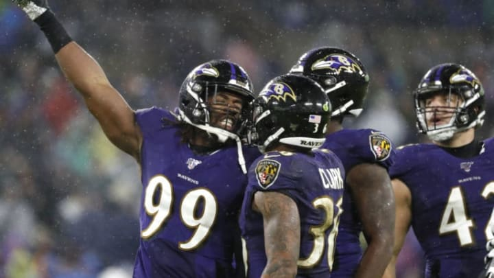 BALTIMORE, MARYLAND - DECEMBER 29: Outside linebacker Matt Judon #99 of the Baltimore Ravens celebrates a tackle against the Pittsburgh Steelers during the fourth quarter at M&T Bank Stadium on December 29, 2019 in Baltimore, Maryland. (Photo by Scott Taetsch/Getty Images)