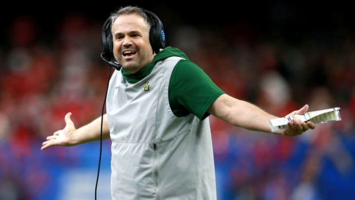 NEW ORLEANS, LOUISIANA - JANUARY 01: Head coach Matt Rhule of the Baylor Bears looks on during the Allstate Sugar Bowl against the Georgia Bulldogs at Mercedes Benz Superdome on January 01, 2020 in New Orleans, Louisiana. (Photo by Sean Gardner/Getty Images)