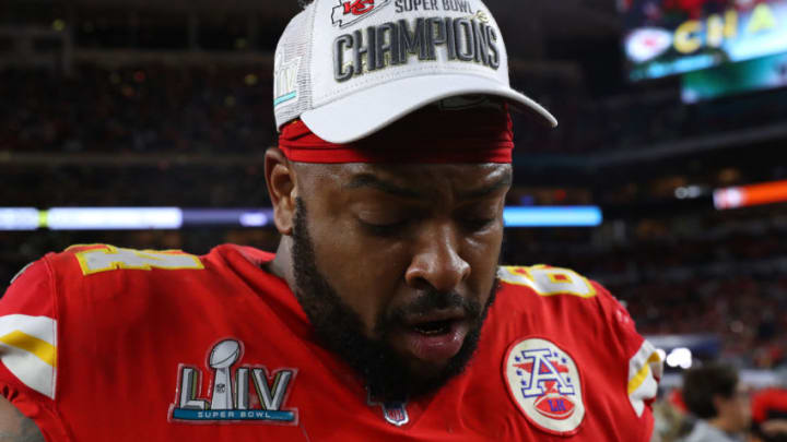 MIAMI, FLORIDA - FEBRUARY 02: Mike Pennel #64 of the Kansas City Chiefs reacts after defeating San Francisco 49ers by 31 - 20in Super Bowl LIV at Hard Rock Stadium on February 02, 2020 in Miami, Florida. (Photo by Maddie Meyer/Getty Images)