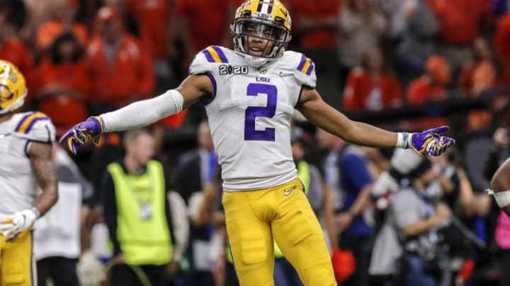 NEW ORLEANS, LA - JANUARY 13: Wide Receiver Justin Jefferson #2 of the LSU Tigers celebrates as the time is ticking away during the College Football Playoff National Championship game against the Clemson Tigers at the Mercedes-Benz Superdome on January 13, 2020 in New Orleans, Louisiana. LSU defeated Clemson 42 to 25. (Photo by Don Juan Moore/Getty Images)