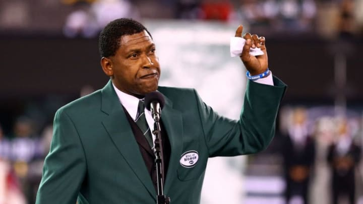 EAST RUTHERFORD, NJ - OCTOBER 08: Former New York Jets wide receiver Wesley Walker addresses the crowd during a haltime ceremony inducting him and former Jets ALl-Pro defensive lineman Mark Gastineau into the Jets' Ring of Honor against the Houston Texans at MetLife Stadium on October 8, 2012 in East Rutherford, New Jersey. (Photo by Al Bello/Getty Images)