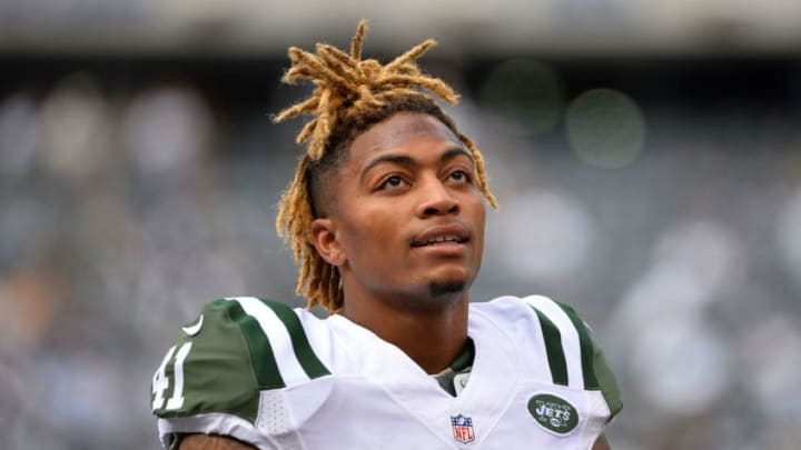 EAST RUTHERFORD, NJ - SEPTEMBER 27: Buster Skrine #41 of the New York Jets warms up prior to their game against the Philadelphia Eagles at MetLife Stadium on September 27, 2015 in East Rutherford, New Jersey. (Photo by Alex Goodlett/Getty Images)