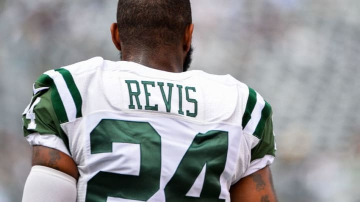 EAST RUTHERFORD, NJ - SEPTEMBER 27: Darrelle Revis #24 of the New York Jets looks on before a game against the Philadelphia Eagles at MetLife Stadium on September 27, 2015 in East Rutherford, New Jersey. (Photo by Alex Goodlett/Getty Images)