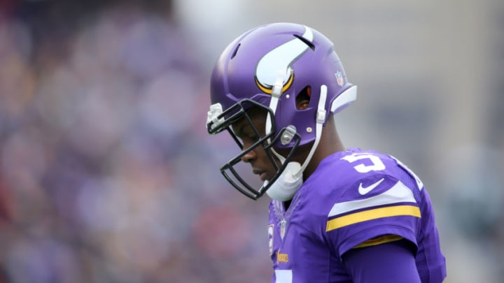MINNEAPOLIS, MN - DECEMBER 20: Teddy Bridgewater #5 of the Minnesota Vikings takes the field against the Chicago Bears in the second quarter on December 20, 2015 at TCF Bank Stadium in Minneapolis, Minnesota. (Photo by Adam Bettcher/Getty Images)