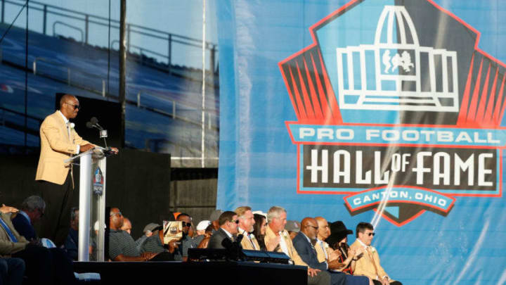 CANTON, OH - AUGUST 06: Marvin Harrison, former NFL wide receiver, speaks during his Pro Football Hall of Fame induction speech during the NFL Hall of Fame Enshrinement Ceremony at the Tom Benson Hall of Fame Stadium on August 6, 2016 in Canton, Ohio. (Photo by Joe Robbins/Getty Images)