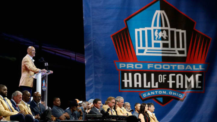 CANTON, OH - AUGUST 06: Tony Dungy, former NFL head coach, is seen during his 2016 Class Pro Football Hall of Fame induction speech during the NFL Hall of Fame Enshrinement Ceremony at the Tom Benson Hall of Fame Stadium on August 6, 2016 in Canton, Ohio. (Photo by Joe Robbins/Getty Images)