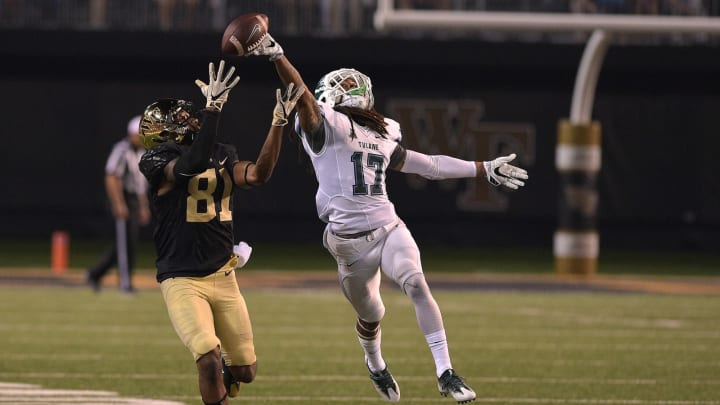 WINSTON-SALEM, NC – SEPTEMBER 01: Parry Nickerson #17 of the Tulane Green Wave breaks up a pass intended for Steven Claude #81 of the Wake Forest Demon Deacons at BB&T Field on September 1, 2016 in Winston-Salem, North Carolina. Wake Forest defeated Tulane 7-3. (Photo by Lance King/Getty Images)