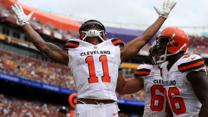 LANDOVER, MD - OCTOBER 2: Wide receiver Terrelle Pryor #11 of the Cleveland Browns celebrates with teammate tight end Randall Telfer #86 after scoring a second quarter touchdown against the Washington Redskins at FedExField on October 2, 2016 in Landover, Maryland. (Photo by Patrick Smith/Getty Images)