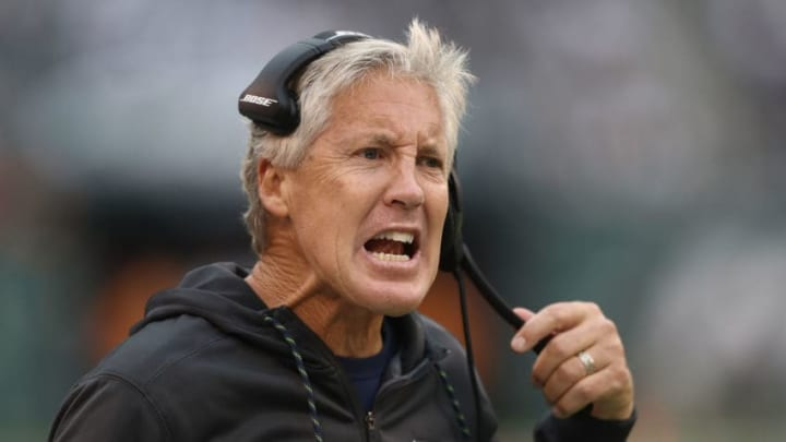 EAST RUTHERFORD, NJ - OCTOBER 02: Head coach Pete Carroll of the Seattle Seahawks reacts to a call in the fourth quarter after a New York Jets scored at MetLife Stadium on October 2, 2016 in East Rutherford, New Jersey. (Photo by Elsa/Getty Images)
