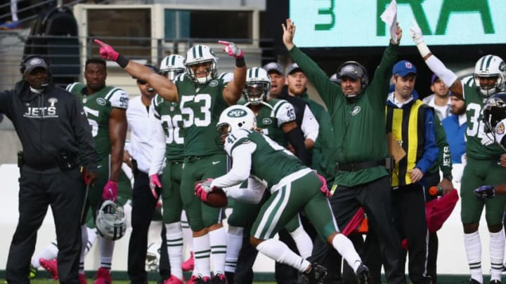 EAST RUTHERFORD, NJ - OCTOBER 23: Buster Skrine #41 of the New York Jets incercepts the ball and returns it to the 3-yard line resulting in a field goal against the Baltimore Ravens in the third quarter at MetLife Stadium on October 23, 2016 in East Rutherford, New Jersey. (Photo by Al Bello/Getty Images)