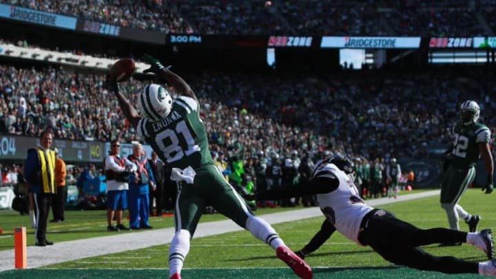 EAST RUTHERFORD, NJ - OCTOBER 23: Quincy Enunwa #81 of the New York Jets can't make the catch in the endzone against the Baltimore Ravens in the third quarter at MetLife Stadium on October 23, 2016 in East Rutherford, New Jersey. (Photo by Michael Reaves/Getty Images)