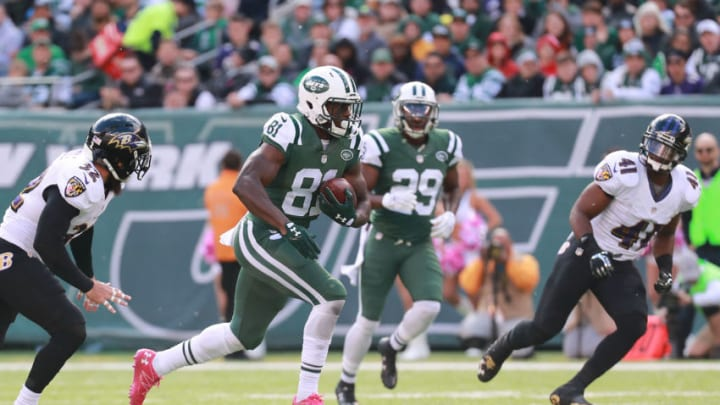 EAST RUTHERFORD, NJ - OCTOBER 23: Quincy Enunwa #81 of the New York Jets runs for a touchdown in the first quarter against the Baltimore Ravens at MetLife Stadium on October 23, 2016 in East Rutherford, New Jersey. (Photo by Michael Reaves/Getty Images)