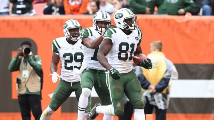 CLEVELAND, OH - OCTOBER 30: Quincy Enunwa #81 of the New York Jets celebrates his touchdown with Bilal Powell #29 and Charone Peake #17 during the third quarter against the Cleveland Browns at FirstEnergy Stadium on October 30, 2016 in Cleveland, Ohio. (Photo by Jason Miller/Getty Images)