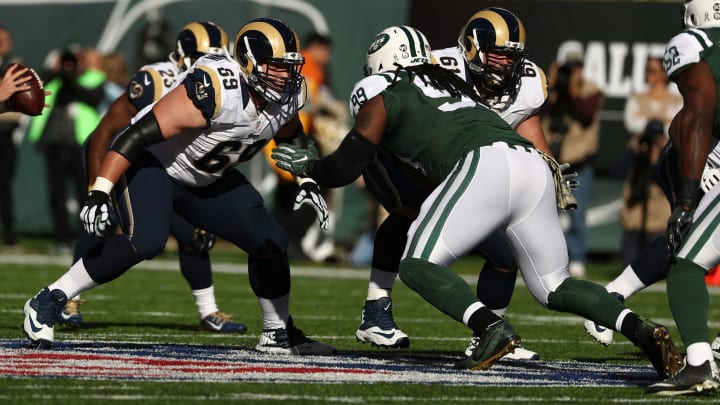 EAST RUTHERFORD, NJ – NOVEMBER 13: Cody Wichmann #69 of the Los Angeles Rams in action against Steve McLendon #99 of the New York Jets at MetLife Stadium on November 13, 2016 in East Rutherford, New Jersey. (Photo by Al Bello/Getty Images)