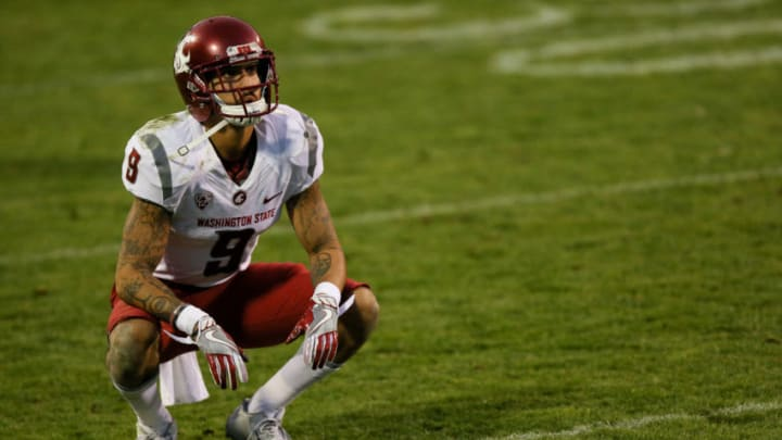 BOULDER, CO - NOVEMBER 19: Wide receiver Gabe Marks #9 of the Washington State Cougars has a moment to himself during the fourth quarter against the Colorado Buffaloes at Folsom Field on November 19, 2016 in Boulder, Colorado. Colorado defeated Washington State 38-24. (Photo by Justin Edmonds/Getty Images)