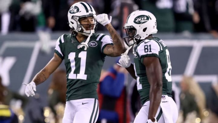 EAST RUTHERFORD, NJ - NOVEMBER 27: Quincy Enunwa #81 of the New York Jets celebrates with Robby Anderson #11 after scoring a 22 yard touchdown pass against the New England Patriots during the fourth quarter in the game at MetLife Stadium on November 27, 2016 in East Rutherford, New Jersey. (Photo by Elsa/Getty Images)