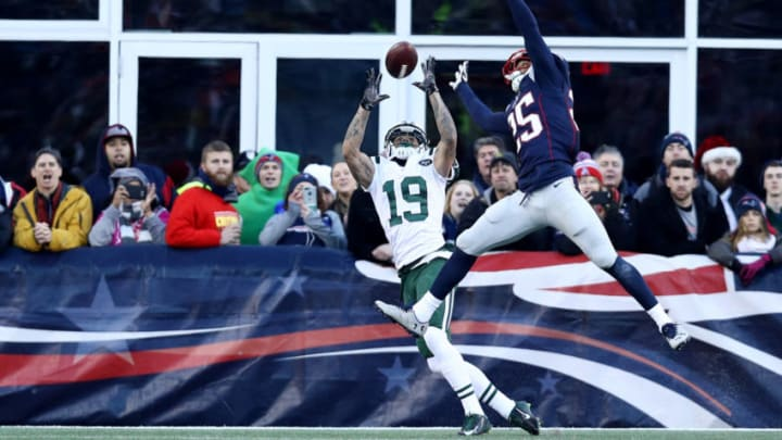 FOXBORO, MA - DECEMBER 24: Eric Rowe #25 of the New England Patriots defends a pass intended for Devin Smith #19 of the New York Jets during the second half at Gillette Stadium on December 24, 2016 in Foxboro, Massachusetts. The Patriots defeat the Jets 41-3. (Photo by Maddie Meyer/Getty Images)