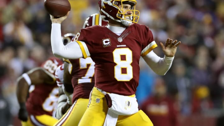 LANDOVER, MD - JANUARY 01: Quarterback Kirk Cousins #8 of the Washington Redskins passes the ball against the New York Giants in the second quarter at FedExField on January 1, 2017 in Landover, Maryland. (Photo by Rob Carr/Getty Images)