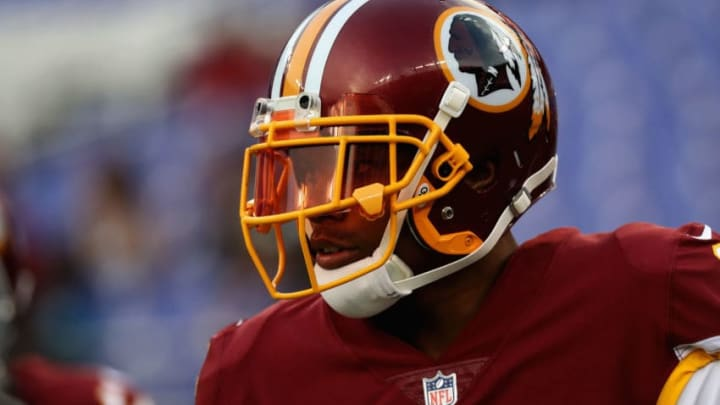BALTIMORE, MD - AUGUST 10: Wide receiver Terrelle Pryor #11 of the Washington Redskins warms up before the start of a preseason game against the Baltimore Ravens at M&T Bank Stadium on August 10, 2017 in Baltimore, Maryland. (Photo by Rob Carr/Getty Images)