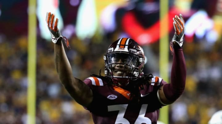 LANDOVER, MD - SEPTEMBER 03: Cornerback Adonis Alexander #36 of the Virginia Tech Hokies gestures to the crowd against the West Virginia Mountaineers at FedExField on September 3, 2017 in Landover, Maryland. (Photo by Rob Carr/Getty Images)