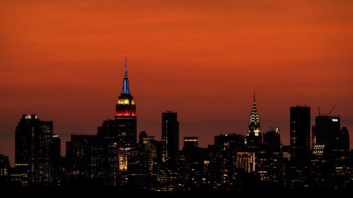NEW YORK, NEW YORK - SEPTEMBER 03: A view of the Manhattan skyline including the Empire State Building and the Chrysler Building at sunset as seen from the Arthur Ashe Stadium on September 03, 2017 in New York City. (Photo by Richard Heathcote/Getty Images)