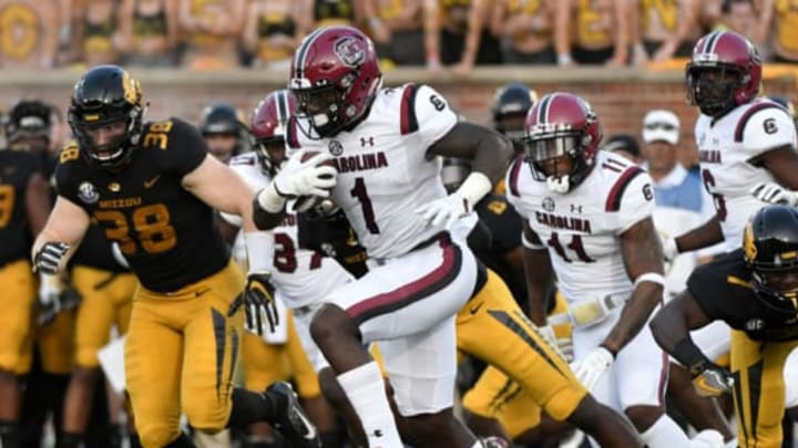 COLUMBIA, MO – SEPTEMBER 9: Deebo Samuel #1 of the South Carolina Gamecocks returns a kick for a 97-yard touchdown against the Missouri Tigers in the second quarter at Memorial Stadium on September 9, 2017 in Columbia, Missouri. (Photo by Ed Zurga/Getty Images)