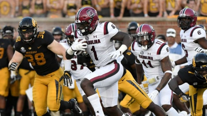 COLUMBIA, MO - SEPTEMBER 9: Deebo Samuel #1 of the South Carolina Gamecocks returns a kick for a 97-yard touchdown against the Missouri Tigers in the second quarter at Memorial Stadium on September 9, 2017 in Columbia, Missouri. (Photo by Ed Zurga/Getty Images)