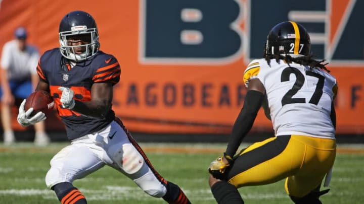 CHICAGO, IL - SEPTEMBER 24: Tarik Cohen #29 of the Chicago Bears breaks a long run in overtime against J.J. Wilcox #27 of the Pittsburgh Steelers at Soldier Field on September 24, 2017 in Chicago, Illinois. The Bears defeated the Steelers 23-17 in overtime. (Photo by Jonathan Daniel/Getty Images)