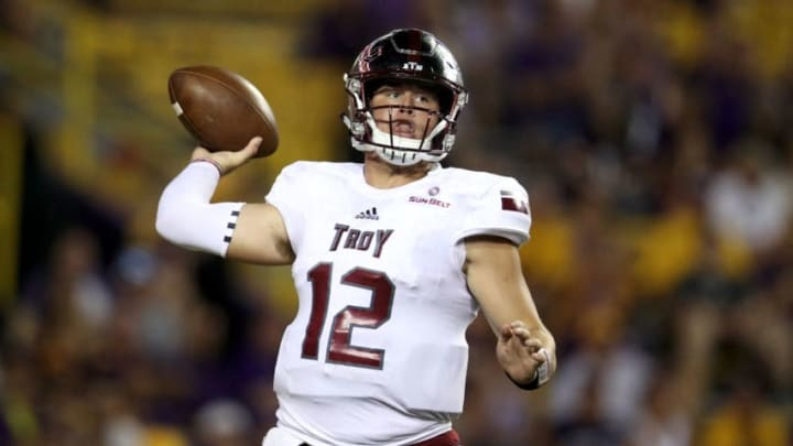 BATON ROUGE, LA - SEPTEMBER 30: Brandon Silvers #12 of the Troy Trojans throws a pass against the LSU Tigers at Tiger Stadium on September 30, 2017 in Baton Rouge, Louisiana. (Photo by Chris Graythen/Getty Images)