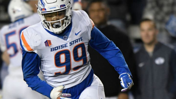 PROVO, UT - OCTOBER 6: Curtis Weaver #99 of the Boise State Broncos celebrates a play during their game against the Brigham Young Cougars at LaVell Edwards Stadium on October 6, 2017 in Provo, Utah. (Photo by Gene Sweeney Jr./Getty Images)