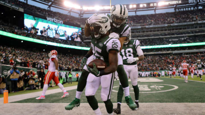 EAST RUTHERFORD, NJ - DECEMBER 03: Elijah McGuire of the New York Jets celebrates with Jermaine Kearse #10 of the New York Jets after scoring a touchdown in the fourth quarter during their game at MetLife Stadium on December 3, 2017 in East Rutherford, New Jersey. (Photo by Abbie Parr/Getty Images)