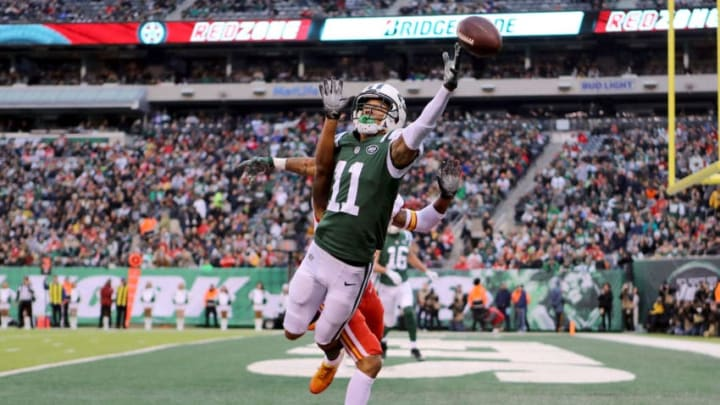 EAST RUTHERFORD, NJ - DECEMBER 03: Robby Anderson #11 of the New York Jets reaches for what would be an incomplete pass in the fourth quarter against the Kansas City Chiefs during their game at MetLife Stadium on December 3, 2017 in East Rutherford, New Jersey. (Photo by Abbie Parr/Getty Images)