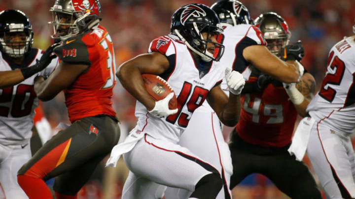 TAMPA, FL - DECEMBER 18: Wide receiver Andre Roberts #19 of the Atlanta Falcons runs for several yards on the kick return during the first quarter of an NFL football game against the Tampa Bay Buccaneers on December 18, 2017 at Raymond James Stadium in Tampa, Florida. (Photo by Brian Blanco/Getty Images)