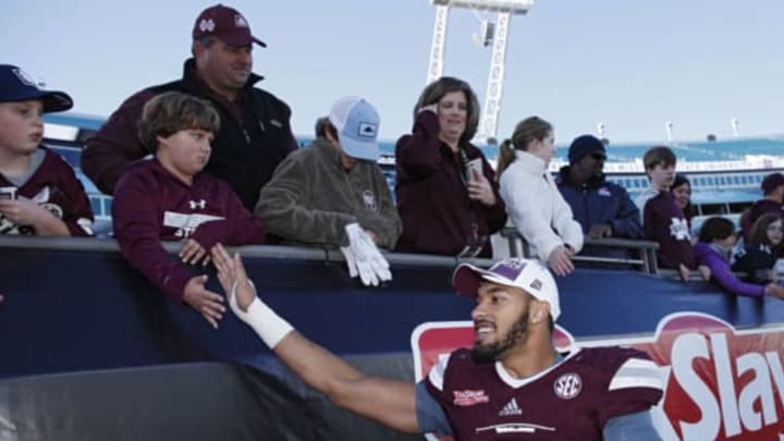 JACKSONVILLE, FL – DECEMBER 30: Montez Sweat #9 of the Mississippi State Bulldogs celebrates with fans following the TaxSlayer Bowl against the Louisville Cardinals at EverBank Field on December 30, 2017 in Jacksonville, Florida. The Bulldogs won 31-27. New York Jets 2019 NFL Draft (Photo by Joe Robbins/Getty Images)