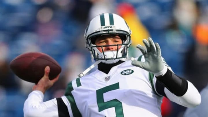 FOXBORO, MA – DECEMBER 31: Christian Hackenberg #5 of the New York Jets warms up before the game against the New England Patriots at Gillette Stadium on December 31, 2017 in Foxboro, Massachusetts. (Photo by Maddie Meyer/Getty Images)