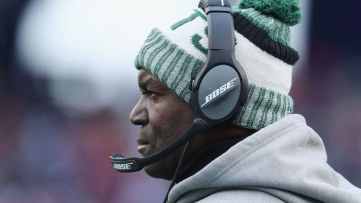 FOXBORO, MA - DECEMBER 31: Head coach Todd Bowles of the New York Jets looks on during the second half against the New England Patriots at Gillette Stadium on December 31, 2017 in Foxboro, Massachusetts. (Photo by Maddie Meyer/Getty Images)