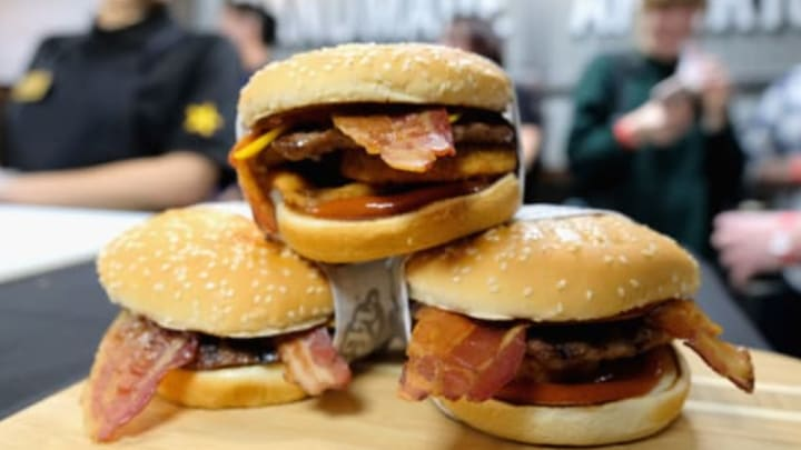 NEW YORK, NY – JANUARY 30: The Western Bacon Cheeseburger on display at the Carl's Jr. opening in Manhattan on January 30, 2018 in New York City. (Photo by Matthew Eisman/Getty Images for Carl's Jr.)