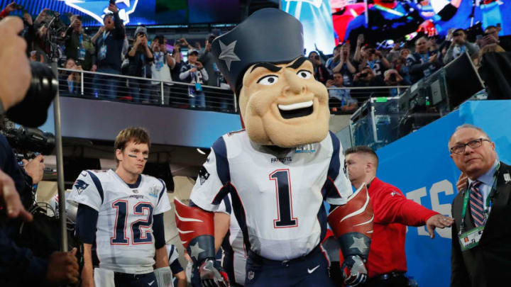 MINNEAPOLIS, MN - FEBRUARY 04: New England Patriots mascot Pat Patriot takes the field prior to Super Bowl LII against the Philadelphia Eagles at U.S. Bank Stadium on February 4, 2018 in Minneapolis, Minnesota. (Photo by Kevin C. Cox/Getty Images)