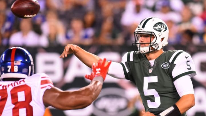 EAST RUTHERFORD, NJ - AUGUST 27: Christian Hackenberg #5 of the New York Jets passes the ball against the New York Giants during the third quarter at MetLife Stadium on August 27, 2016 in East Rutherford, New Jersey. The Giants defeated the Jets 21-20. (Photo by Rich Barnes/Getty Images)