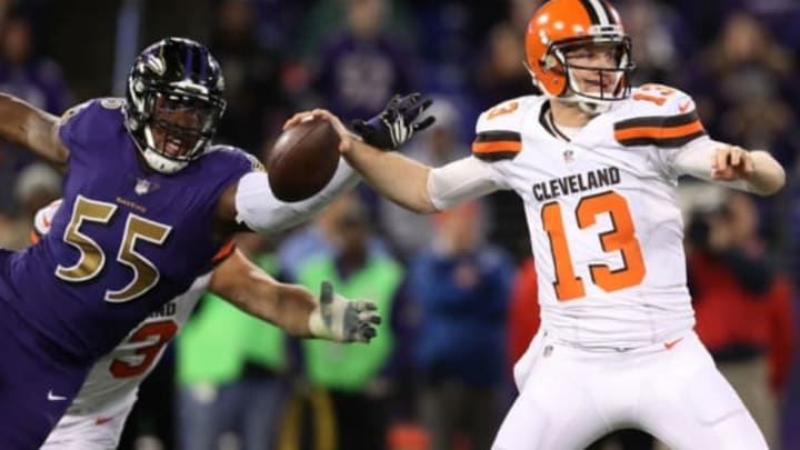 BALTIMORE, MD – NOVEMBER 10: Quarterback Josh McCown #13 of the Cleveland Browns work under pressure from outside linebacker Terrell Suggs #55 of the Baltimore Ravens in the third quarter at M&T Bank Stadium on November 10, 2016, in Baltimore, Maryland. (Photo by Rob Carr/Getty Images)
