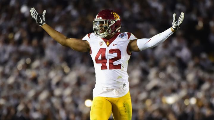 PASADENA, CA – JANUARY 02: Linebacker Uchenna Nwosu #42 of the USC Trojans reacts against the Penn State Nittany Lions during the 2017 Rose Bowl Game presented by Northwestern Mutual at the Rose Bowl on January 2, 2017 in Pasadena, California. (Photo by Harry How/Getty Images)