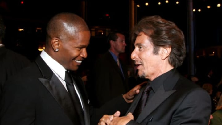HOLLYWOOD – JUNE 07: **EXCLUSIVE ACCESS** Actors Jamie Foxx and Al Pacino (R) in the audience during the 35th AFI Life Achievement Award tribute to Al Pacino held at the Kodak Theatre on June 7, 2007 in Hollywood, California. (Photo by Alberto E. Rodriguez/Getty Images for AFI)