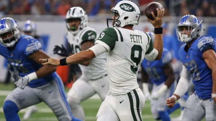 DETROIT, MI - AUGUST 19: Bryce Petty #9 of the New York Jets rolls out to pass during the third quarter of the preseason game against the Detroit Lions on August 19, 2017 at Ford Field in Detroit, Michigan. The Lions defeated the Jets 16-6. (Photo by Leon Halip/Getty Images)