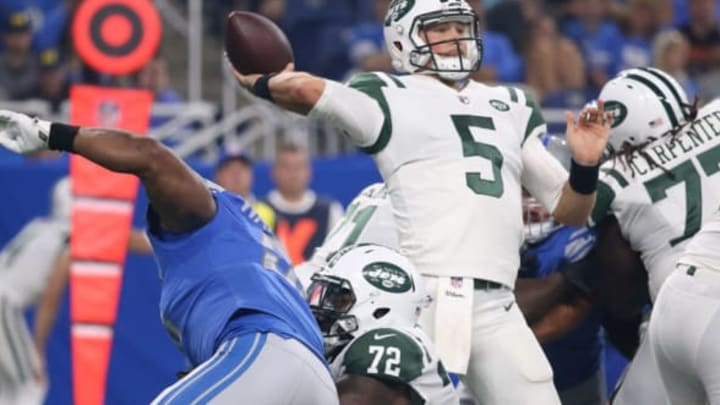 DETROIT, MI – AUGUST 19: Christian Hackenberg #5 of the New York Jets drops back to pass during the first quarter of the preseason game against the Detroit Lions on August 19, 2017 at Ford Field in Detroit, Michigan. The Lions defeated the Jets 16-6. (Photo by Leon Halip/Getty Images)
