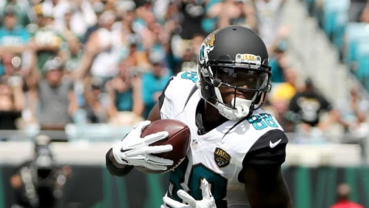 JACKSONVILLE, FL - SEPTEMBER 11: Allen Hurns #88 of the Jacksonville Jaguars runs for yardage during a game against the Green Bay Packers at EverBank Field on September 11, 2016 in Jacksonville, Florida. (Photo by Sam Greenwood/Getty Images)