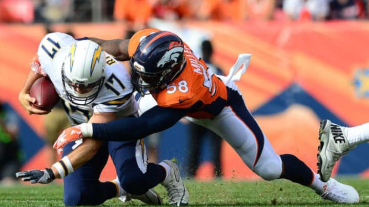 DENVER, CO – OCTOBER 30: Quarterback Philip Rivers #17 of the San Diego Chargers is tackled by outside linebacker Von Miller #58 of the Denver Broncos at Sports Authority Field at Mile High on October 30, 2016 in Denver, Colorado. (Photo by Dustin Bradford/Getty Images)